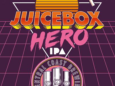Juicebox Hero neon 80s haze juice ipa beer