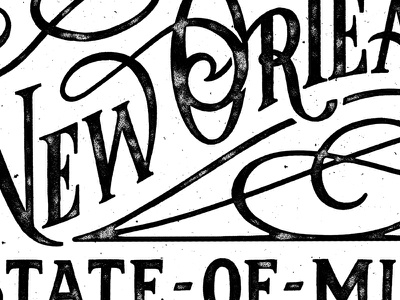 New Orleans Type swashes texture sketch custom type