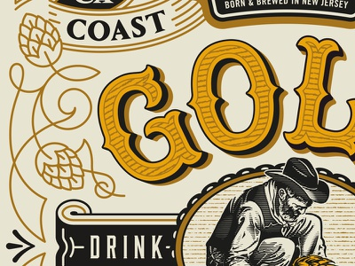 Gold Rush new jersey california vintage west coast ipa beer