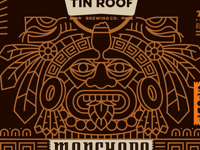 Mexican Stout aztec illustration beer label