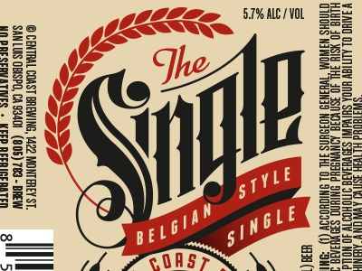The Single Central Coast Brewing Co Beer Label by Scott Greci – Beer Label
