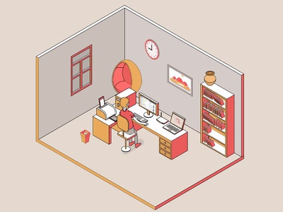 Our first isometric animation desk office animation agency animated video animation studio uitlegvideo explainer 5d 2 illustration animation isometric