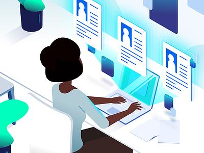 Handling personal information animation explainer video illustration privacy personal information desk office tech 5d 2 isometric explainer