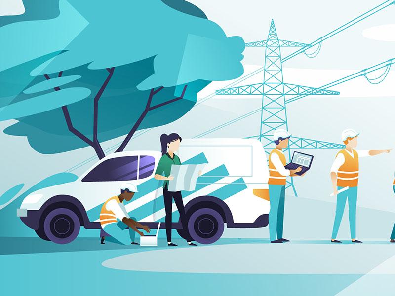Power mechanics illustrations tech power pylon animation construction builders mechanics illustration illustrations