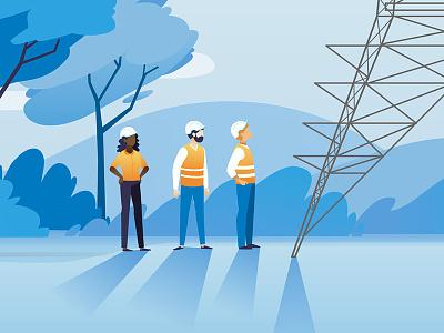 Powerpylon Mechanics shadows orange blue national grid power mechanics power pylon illustrations illustration