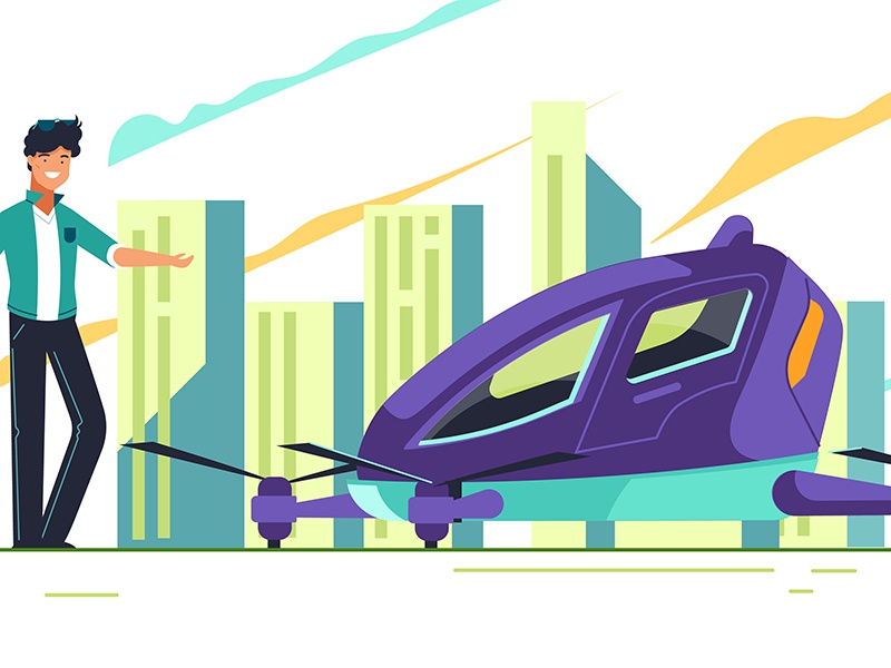 Just going to take my drone today reach studio animation illustration vector flat flying car drone