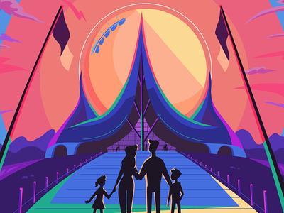 Theme park sunset