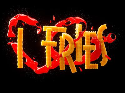 I ❤️ Fries 3drender cgi octanerender 3dlettering illustration brand design cinema4d typography photoshop graphic design 3d art