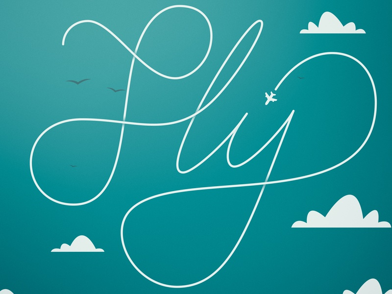 Fly birds clouds sky vector design landscape typography brand illustration photoshop graphic design lettering calligraphy