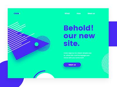Cram - home website shapes ui poppins clean minimal constructivism forms blue green website