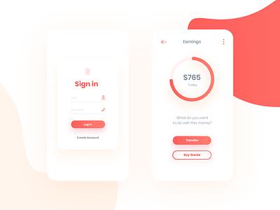 Rupi finance app cards poppins clean salmon orange ui interface application share economy finance