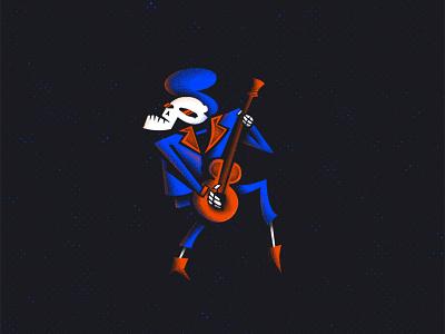 Skull Dance skull guitar dance design illustration