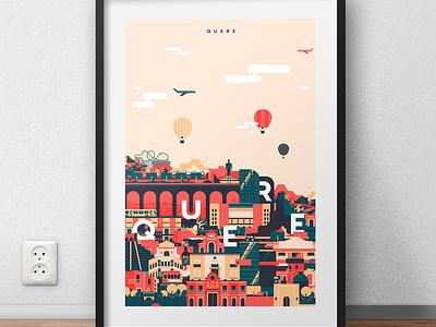 QUERE diseño mexico digital art ilustración illustrator city art vector sintetic design illustration