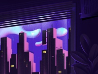 Stay Home hello hellodribbble illustration dribbble home corona window city cover pink clouds apartment house stay home stayhome purple ozoyo blocks