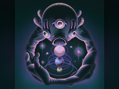 OOO spiritual sound sphere creature cover planet galactic space alien ozoyo purple hellodribbble dribbble illustration hello