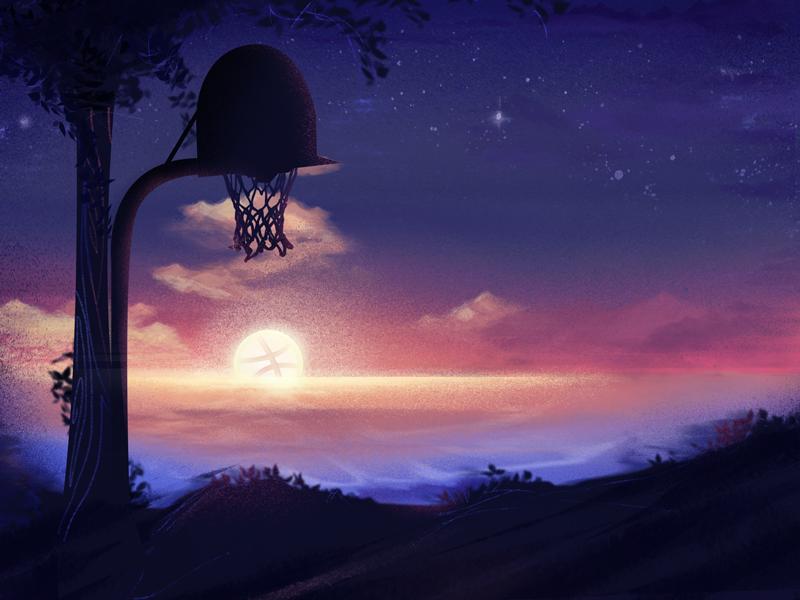 Hi Dribbble sundown basketball sunsetchill sunset hidribbble dribbble hellodribbble hello