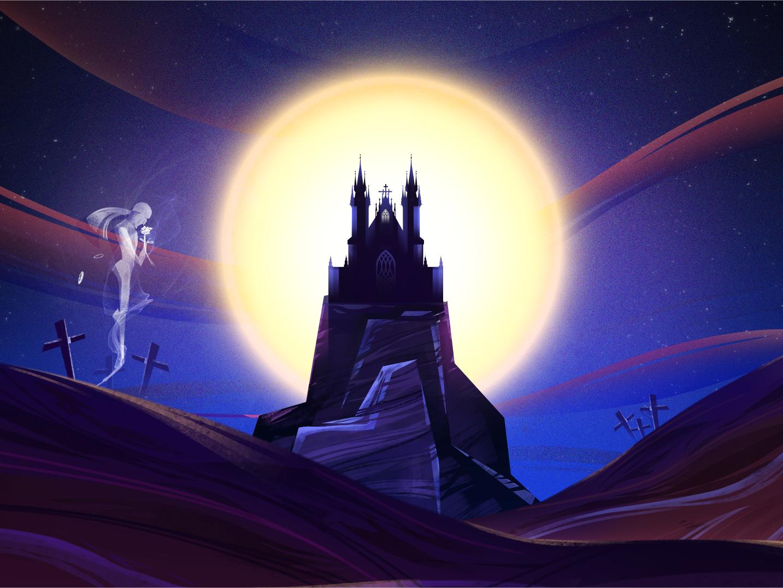Spooky Castle hello illustration fly hair purple cross man rose castle moonlight ghost silent hill blue horror halloween moon