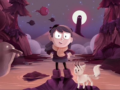 Hilda in Trollberg red fog illustration illustrator cartoon hill sea troll hello moon purple hilda comic fanart cartoon comic