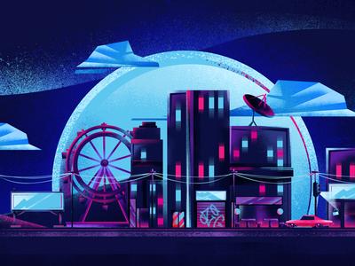 City of Lights city noise car illustration building animation 2d album pink ozoyo moon hellodribbble dribbble blue purple