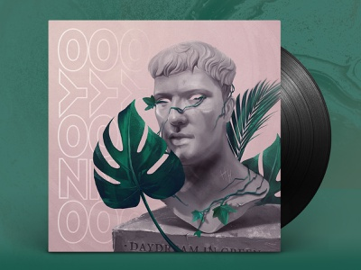 Daydream in Green vinyl bust sculpture lofi daydream leaf plant flower green pink dribbble design album ozoyo hellodribbble illustration hello