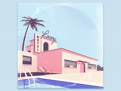Motel Lazy purple design illustrator illustraion vinyl music album cover summer hotel ps ai dribbble lofi ozoyo pink hellodribbble hello lazy motel