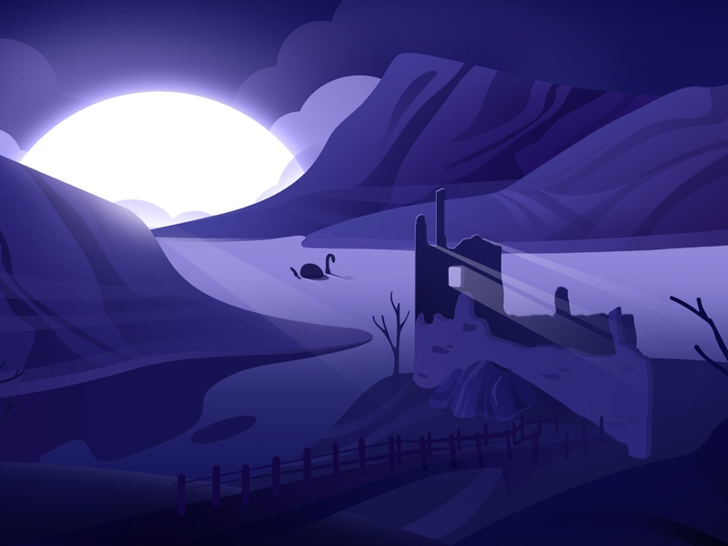 Loch Ness monster light sea lochness mood vector blue purple hellodribbble dribbble illustration hello