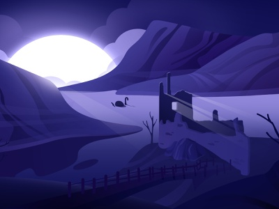 Loch Ness monster light sea lochness mood vector blue purple hellodribbble dribbble illustration hello