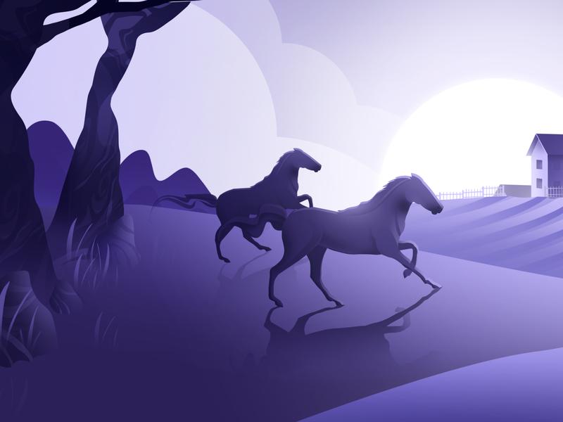 Back to the Village sun app village horse vector design hello blue purple hellodribbble dribbble illustration