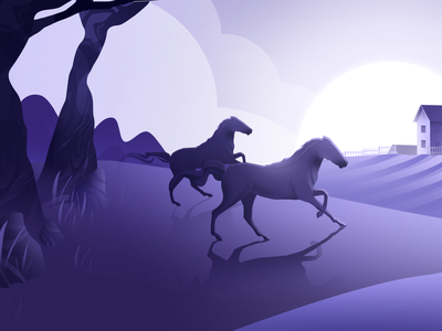 Back to the Village sun app village horse vector design hello blue purple hellodribbble dribbble illustration