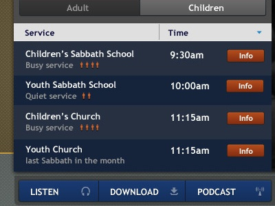 Church Services Timetable church timetable schedule tabs tabbed tab time