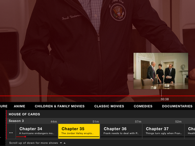 Netflix Live Scrubbing house of cards box top ui tv apple tvos cable netflix