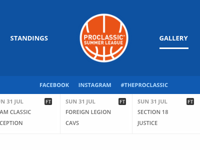 the pro classic gallery page basketball user interface digital art direction development ui