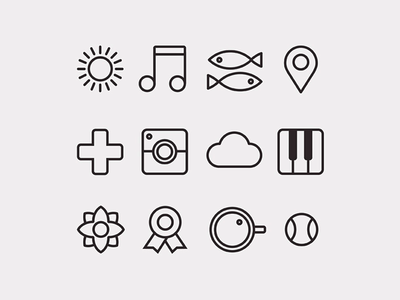 Icon Set icons icon flat linear cloud sun fish piano camera icon set line illustration