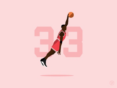 Scottie #33 illustration chicago bulls scottie pippen basketball nba