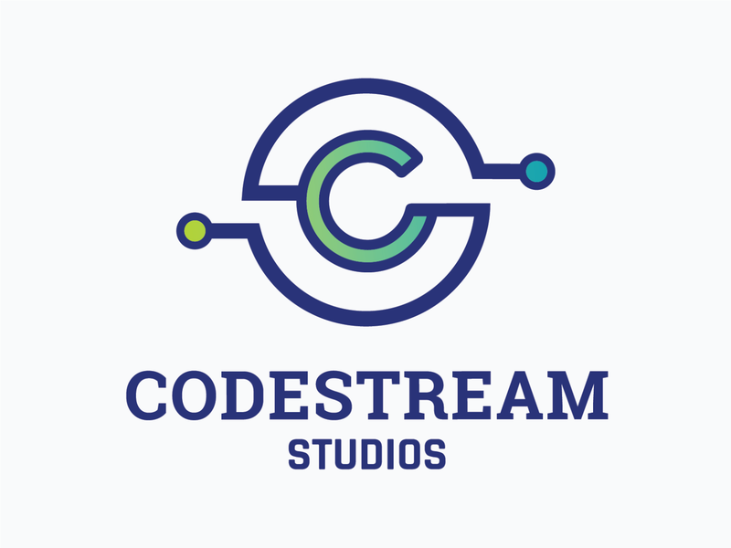 CodeStream Studios // Logo Design coding education logo tech logo gradient logo gradient branding typographic logo