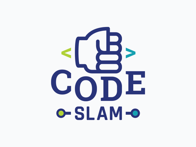 CodeSLAM / Logo Design development logo fist slam logo slammed logotype code logo logo design branding typographic logo