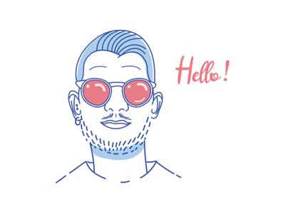 Portrait self-portrait character photo picture avatar hello sunglasses face vector draw illustration portrait