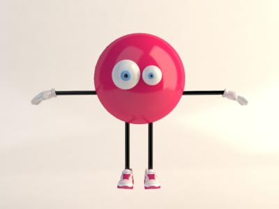 Mr BubbleGum designer rigging pink ball avatar nike eyes cartoon c4d 3d character character design