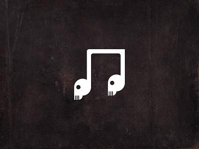 death music icon logo piano skull music note death