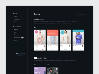 UI Components Library grid color icons typography vinted button styleguide dark elements components ui library