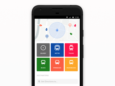 Welcome Home navigation map ui mobile android search route mobility destinations cards transport home
