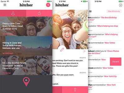 Hitcher - Social App & Platform design branding ux