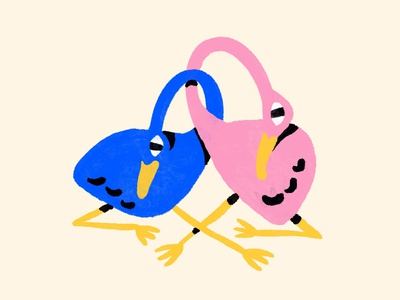 Lovers character lovers swan bird procreate texture editorial branding illustration