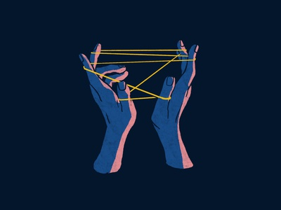 Cat's cradle organic hand drawn lighting line string procreate texture branding editorial illustration hands