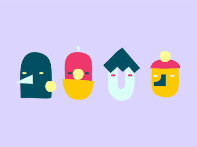 Pinterest Pals organic cut shapes face character editorial branding illustration animation