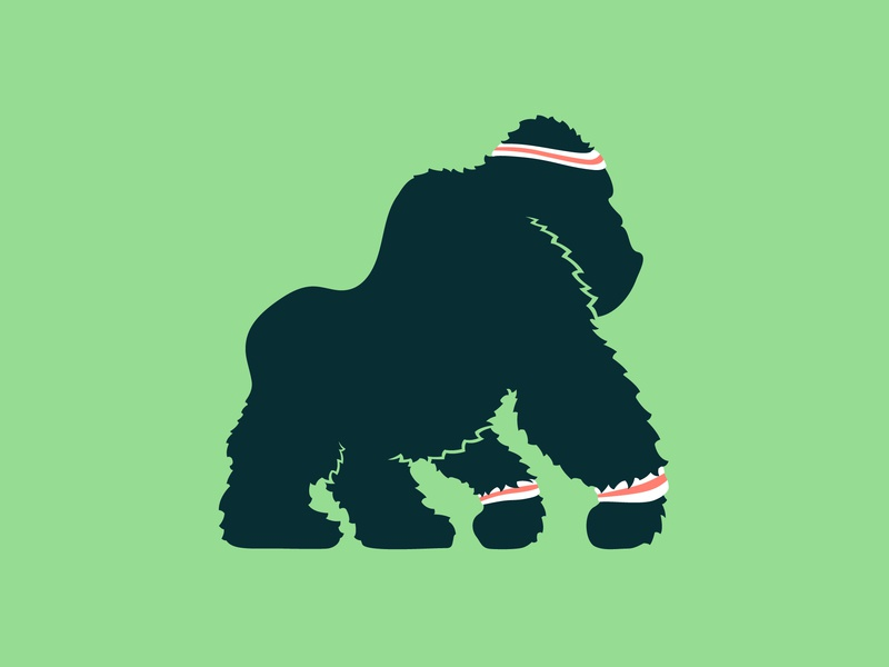 Fit Gorilla web app drawing design editorial motion style vector character logo texture branding animation procreate illustration fitness workout fit monkey gorilla
