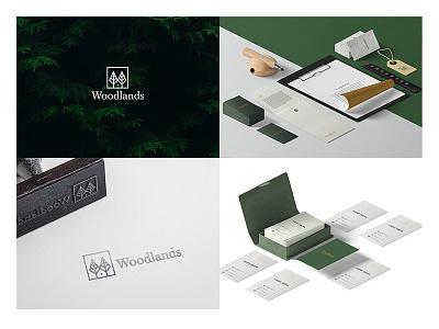 Woodlands Branding negative space stationery simple modern minimal house branding logo tree