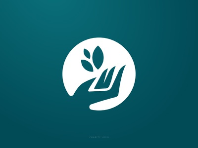 Giving is Caring leaves giving hand design logo charity