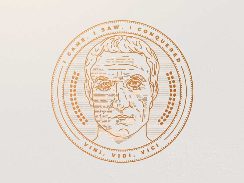 Vini, Vidi, Vici - Julius Caesar badge woodcut etching engraving illustration lineart vintage caesar julius
