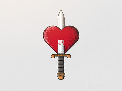 Cliche vintage valentine illustration love dagger heart